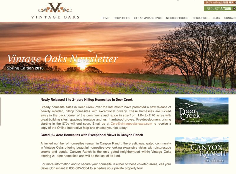 Vintage Oaks Spring 2016 Newsletter